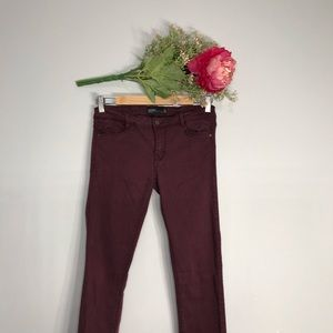 Zara |Burgundy Low Rise Stretch Skinny Jeans SZ6